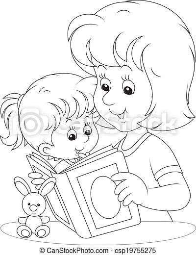 Mother And Daughter Reading Mom Reads A Book To Her Little Daughter