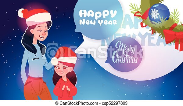 mother and daughter wearing santa hats merry christmas and happy new year greeting card family celebration