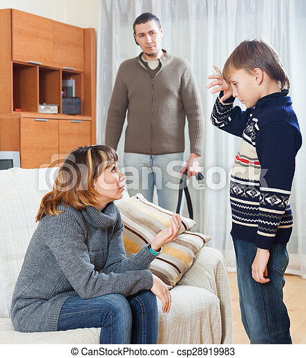 Mother and father with belt scolding teenager