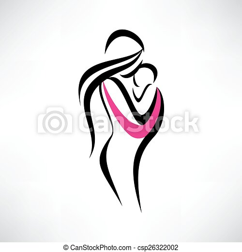 mother and her baby in a sling - csp26322002