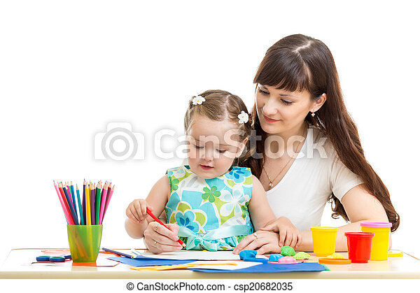 mother and her child girl pencil together - csp20682035