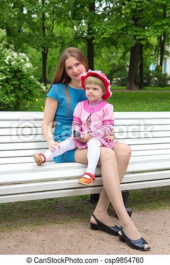 Mother and her daughter Relaxing In Garden - csp9854760