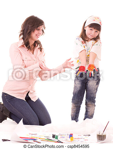 mother and her daughter with paint - csp8454595