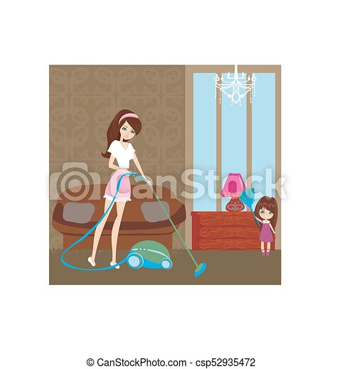 Mother and little girl tidying up a room all together - csp52935472