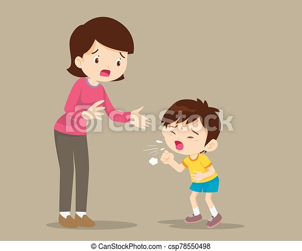 Mother and Sick boy coughing hard - csp78550498