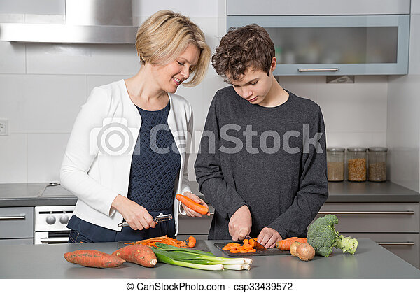 Mother and Son in the kitchen - csp33439572