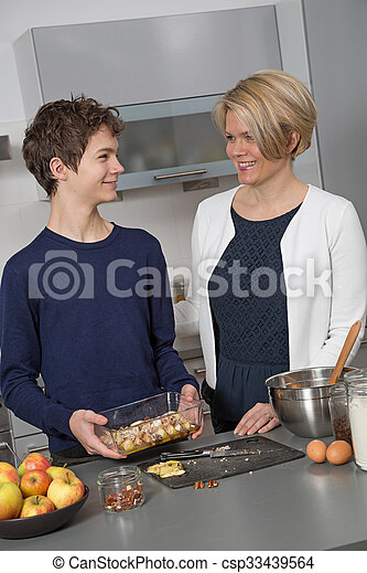 Mother and Son in the kitchen - csp33439564