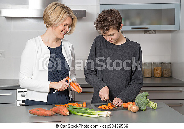 Mother and Son in the kitchen - csp33439569