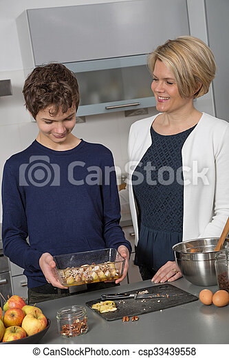 Mother and Son in the kitchen - csp33439558