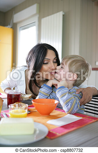 Mother and son in the kitchen - csp8807732