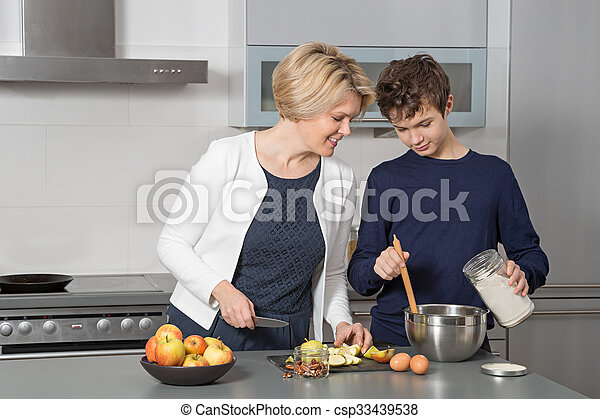 Mother and Son in the kitchen - csp33439538