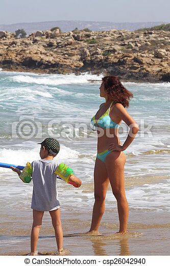 mother and son on the beach - csp26042940