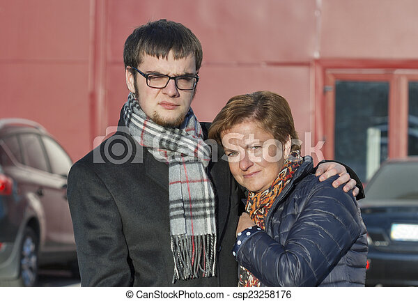mother and son portrait in autumn clothing - csp23258176