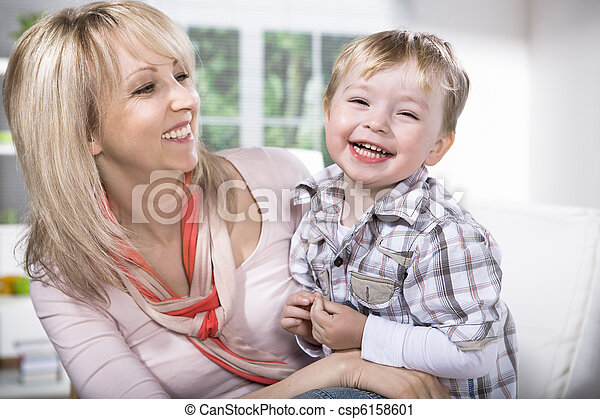 mother and son portrait - csp6158601