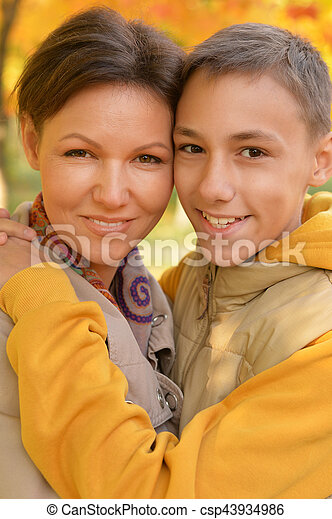 mother and son portrait - csp43934986