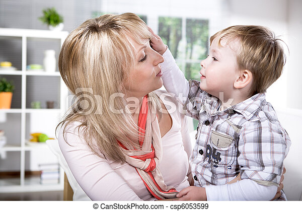mother and son portrait - csp6053599
