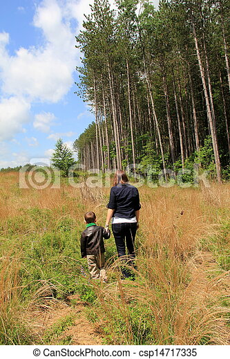 Mother and son walking in meadow - csp14717335