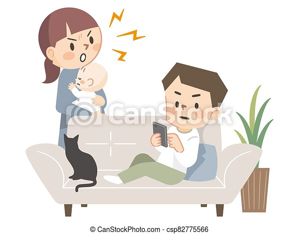 Mother angry with her father lying on the sofa - csp82775566