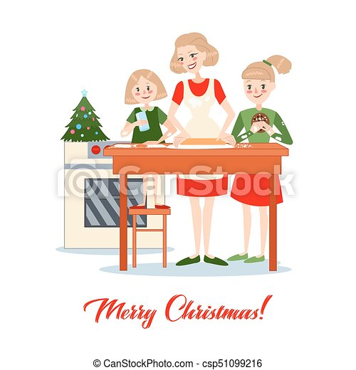 Mother Bakes Traditional Christmas Cookies with Daughters. Happy Family Winter Holidays. Vector illustration - csp51099216