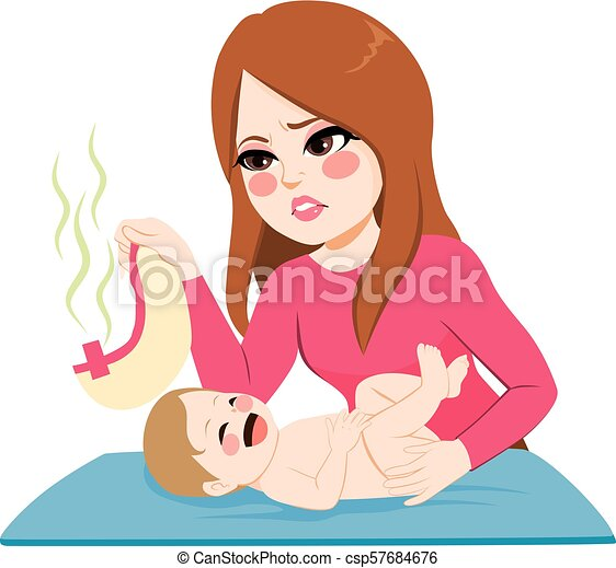 Mother Changing Diaper - csp57684676