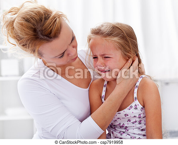 Mother comforting her crying little girl - csp7919958