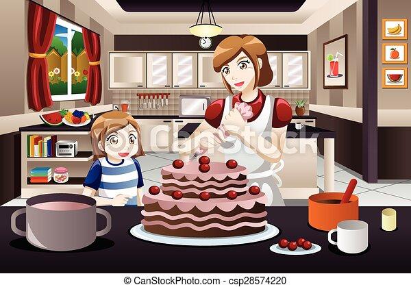Mother Daughter Decorating a Cake - csp28574220