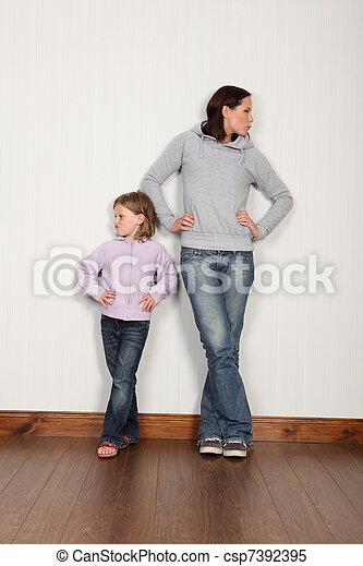 Mother daughter dispute not speaking and angry - csp7392395