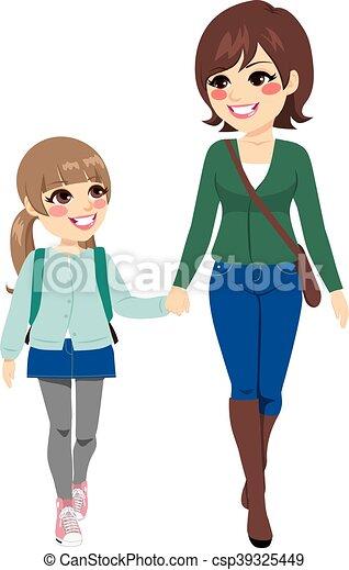 Mother Daughter Going School - csp39325449