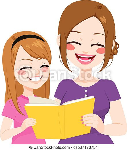 mother daughter reading young mother reading book with daughter rh canstockphoto com mom and daughter love clipart mother and daughter clipart