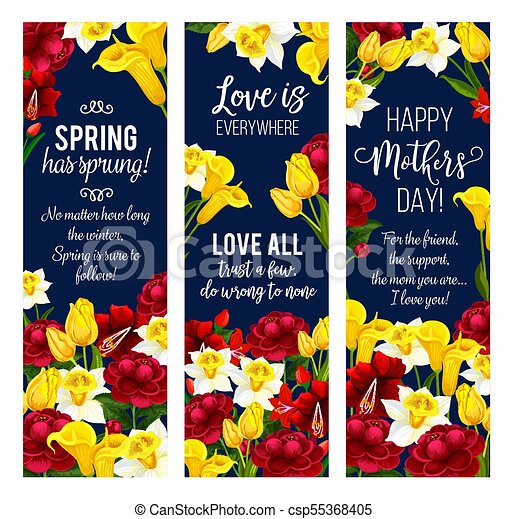 Mother Day Flower Banner For Spring Holiday Design Mother Day
