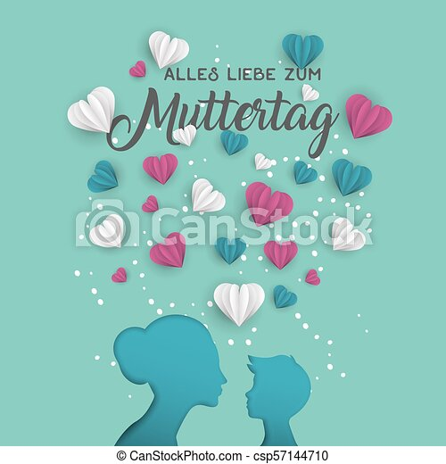 Mother Day German Card For Family Holiday Love Happy Mothers Day