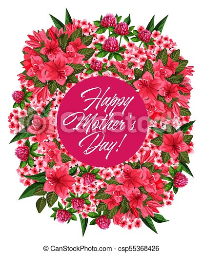 Mother day pink flower wreath greeting card design mother day pink mother day pink flower wreath greeting card design csp55368426 m4hsunfo
