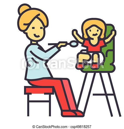 Mother Feeding Child In Highchair Child Feeding Concept. Line Vector Icon. Editable Stroke. Flat  sc 1 st  Can Stock Photo & Mother feeding child in highchair child feeding concept. line ...