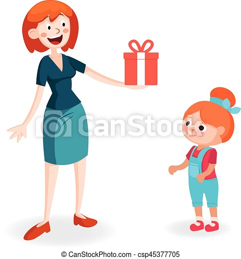 mother giving gift to daughter mom gives a gift in a box to rh canstockphoto ca mom and daughter hugging clipart mom and daughter talking clipart