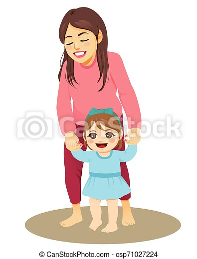 Mother Helping Baby Girl Walking Young Mother Holding Little Baby Girl Hands Helping Her Learning Walking First Steps