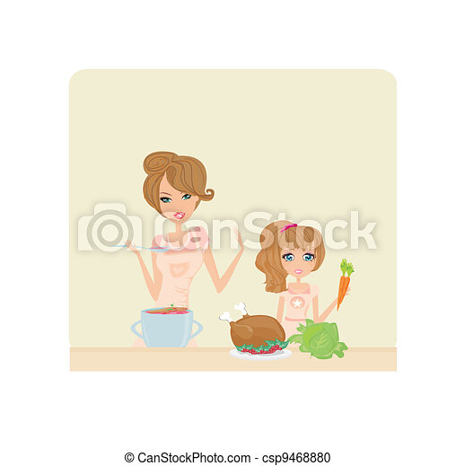 mother helping her daughter cooking - csp9468880