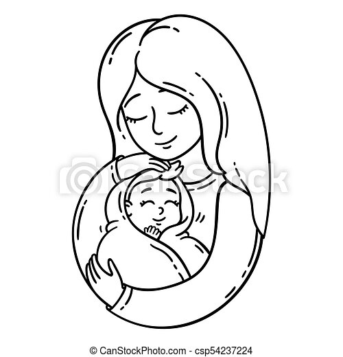 Coloring Pages: Baby And Mother Coloring Pages | 470x450