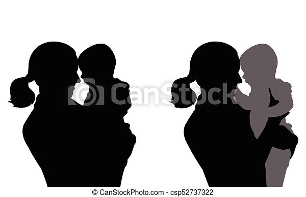 mother holding baby silhouettes - csp52737322