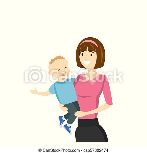Mother holds a son in his arms, isolated on white background - csp57882474
