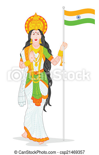 easy to edit vector illustration of mother india with message bharta rh canstockphoto com india clip art free download indian clipart free