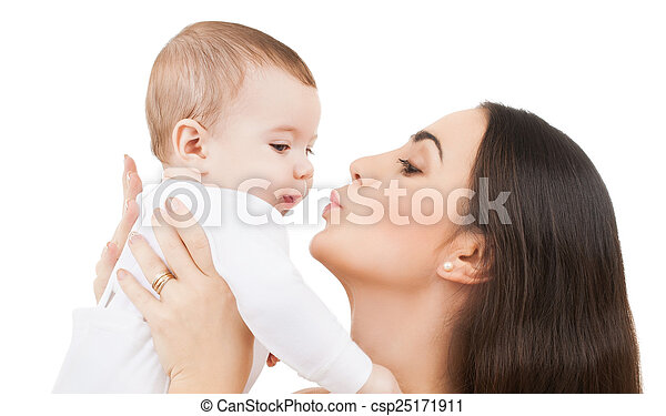 mother kissing her baby - csp25171911