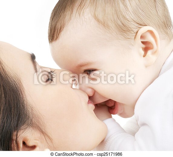 mother kissing her baby - csp25171986