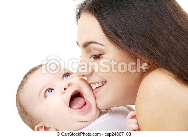 mother kissing her baby - csp24867103