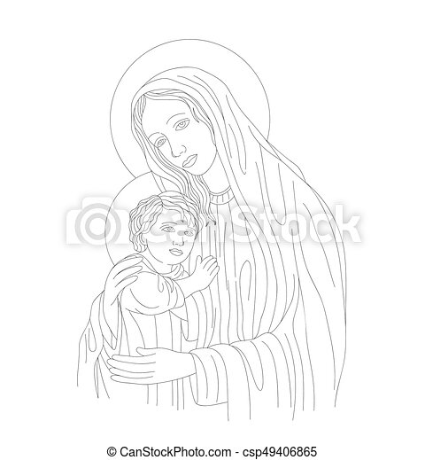 Mother Mary and Son Line Art - csp49406865