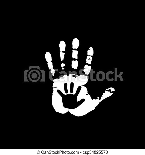 Black And White Silhouette Of Adult Baby Hands In Heart Mother Or Father Child Handprint Palm Woman Social Vector Illustration Idea