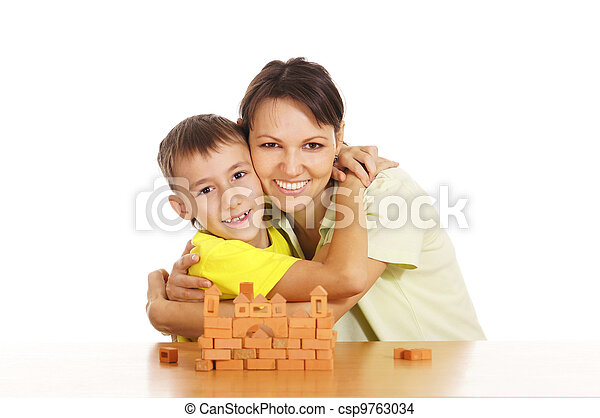 mother plays with son - csp9763034
