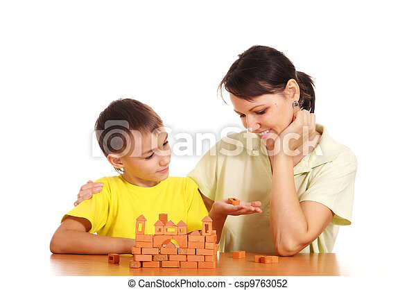 mother plays with son - csp9763052