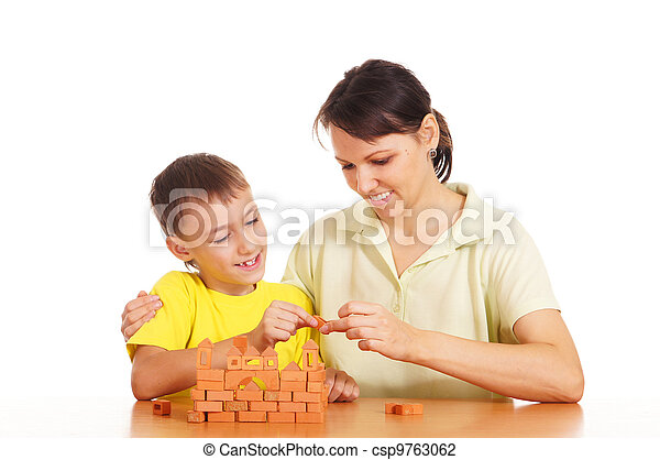 mother plays with son - csp9763062