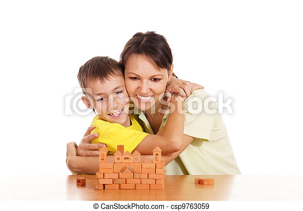 mother plays with son - csp9763059
