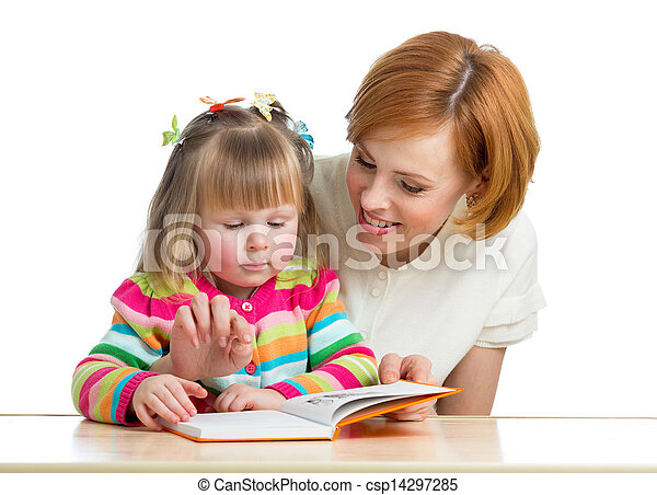 mother reading a book child - csp14297285
